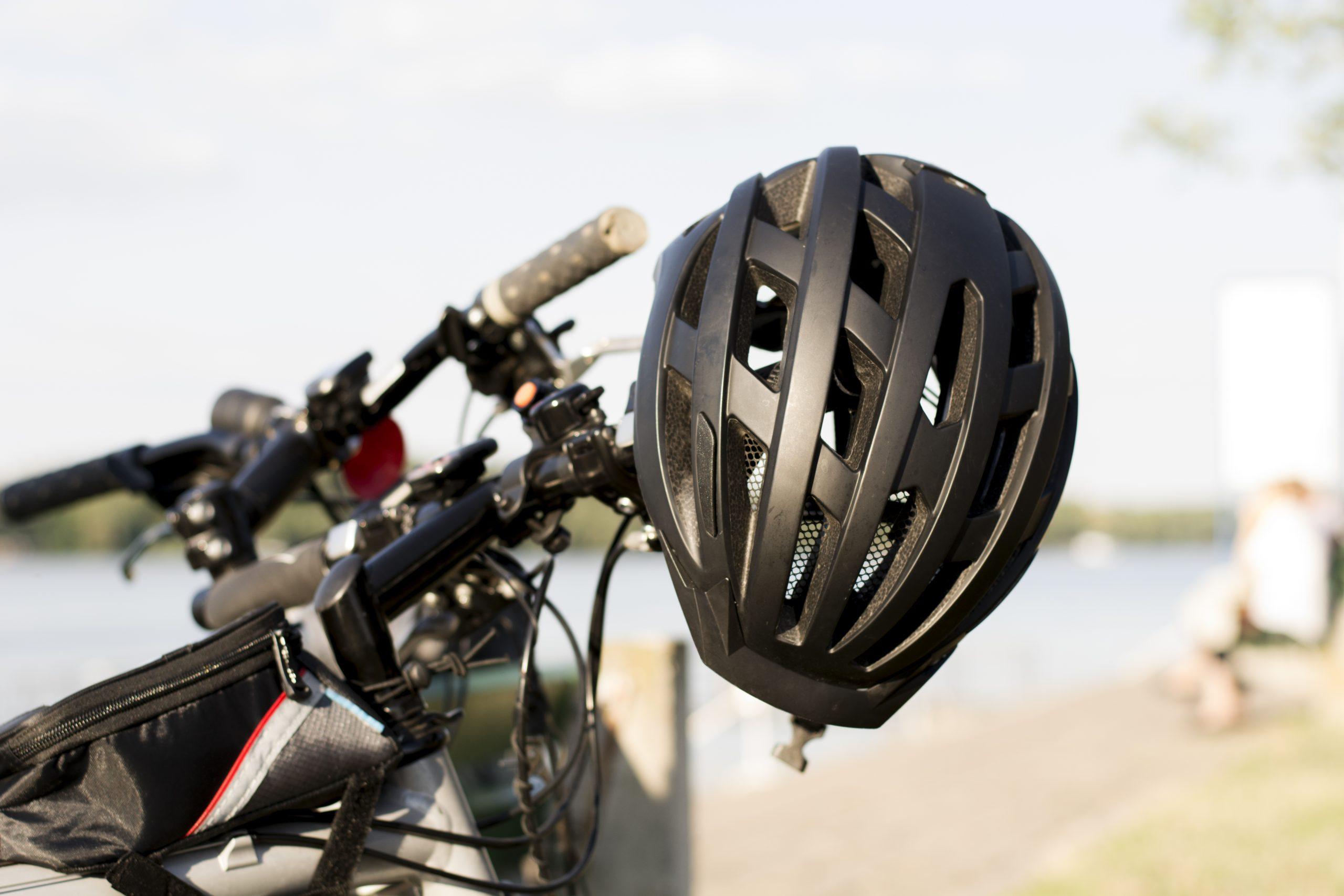 Bike helmet on bicycle