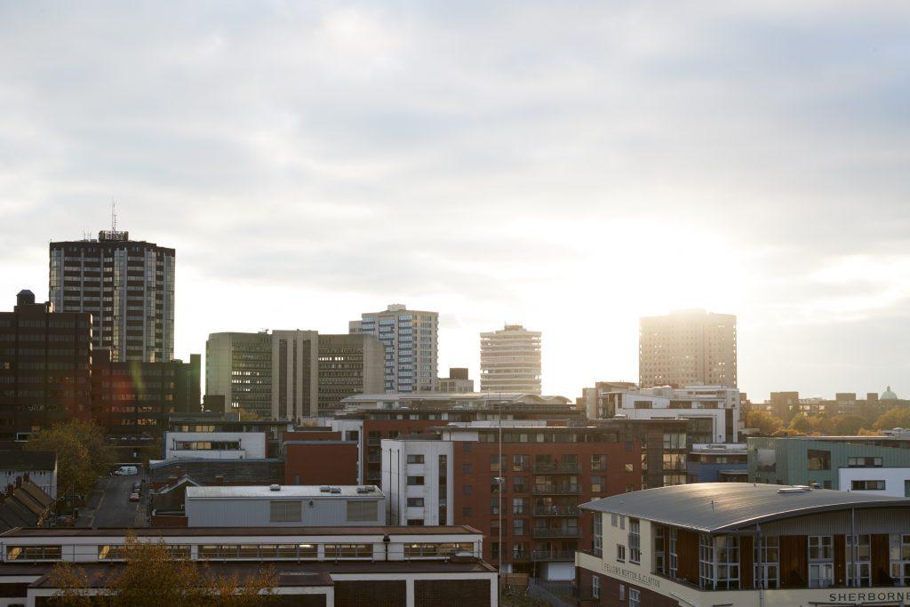 Birmingham City Skyline At Sunset